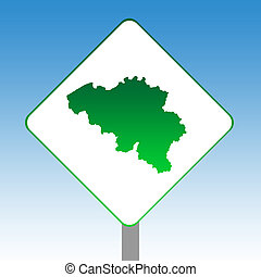 Belgium map road sign in green isolated on white with blue ...