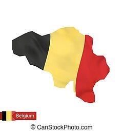 Belgium map with waving flag of Belgium.