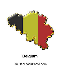 map shaped flag of Belgium in the style of a metal pin badge