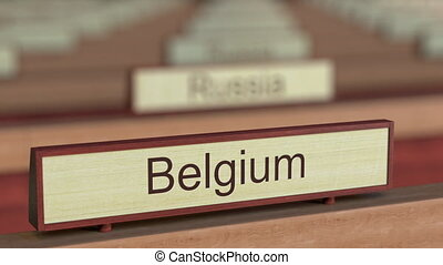 Belgium name sign among different countries plaques at...