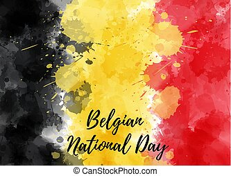 Holiday background for Belgian national day. Abstract watercolor painted splashes flag of Belgium. Template for national holiday backgrounds.