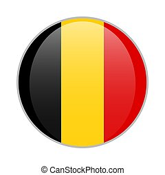 Belgium national flag round glossy icon badge Isolated on white background