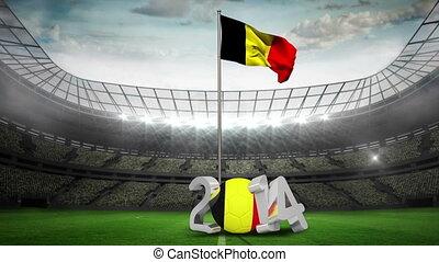 Belgium national flag waving in foo