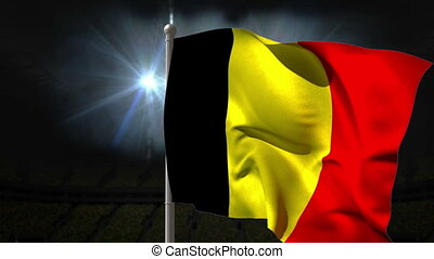 Belgium national flag waving on fla