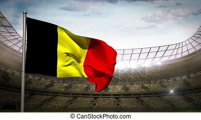 Belgium national flag waving on sta