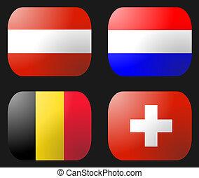 Belgium Netherlands Swiss Austria Flag buttons illustration