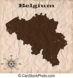Belgium old map with grunge and crumpled paper. Vector illustration