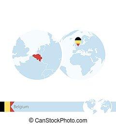 Belgium on world globe with flag and regional map of Belgium.