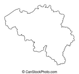 Belgium outline map with shadow. Detailed, Mercator ...
