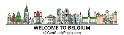 Belgium outline skyline, belgian flat thin line icons, landmarks, illustrations. Belgium cityscape, belgian travel city vector banner. Urban silhouette