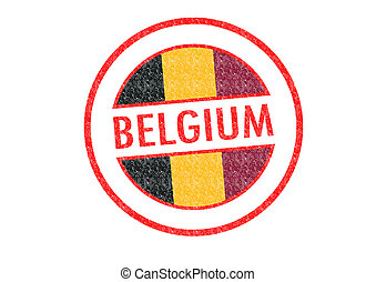 BELGIUM - Passport-style BELGIUM rubber stamp over a white...