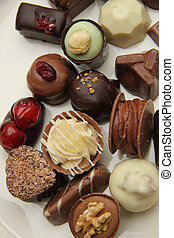 Belgium Pralines - Belgium chocolates, decorated with nuts...