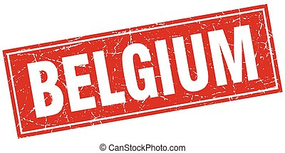 Belgium red square grunge vintage isolated stamp