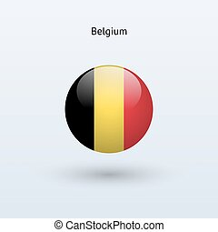 Belgium round flag. Vector illustration.