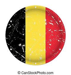 Belgium - round metal scratched flag, screw holes
