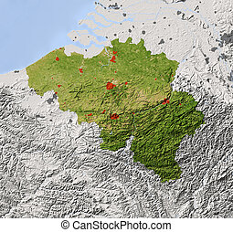 Belgium, shaded relief map - Belgium. Shaded relief map....