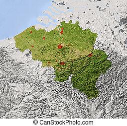 Belgium, shaded relief map - Belgium. Shaded relief map....