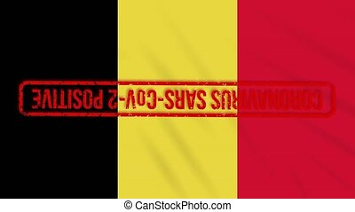 Belgian swaying flag stamped with red positive response to COVID-19, loop