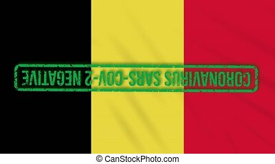Belgian swaying flag with a green stamp of freedom from coronavirus, loop.