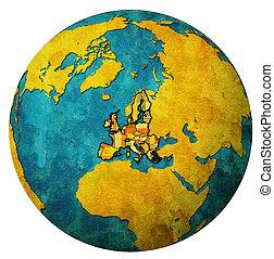 belgium territory with flag over globe map