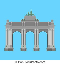 Belgium travel landmark. The triumphal arch in the park of the fiftieth anniversary in Brussels