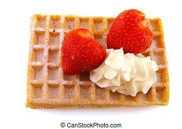 Belgium waffle with fruit
