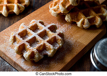 Belgium Waffle with Powdered Sugar