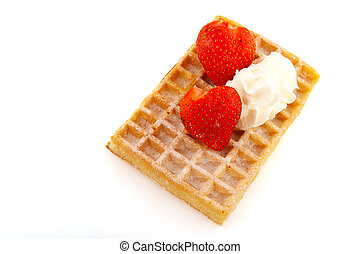 Belgium waffle with strawberries