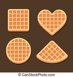 Belgium Waffles Icon Set on Dark Background. Vector...