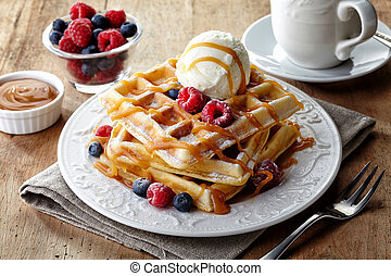 Belgium waffles - Plate of belgium waffles with ice cream, ...