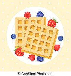 Belgium waffles with berries, flat design