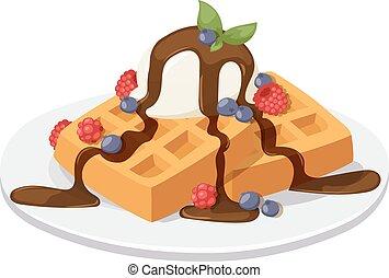 Belgium waffles with chocolate cream, ice cream and strawberries isolated on white background