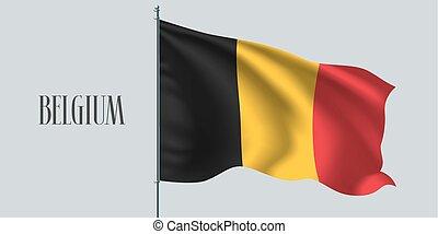 Belgium waving flag on flagpole vector illustration