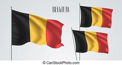 Belgium waving flag set of vector illustration