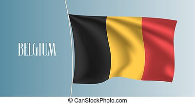 Belgium waving flag vector illustration