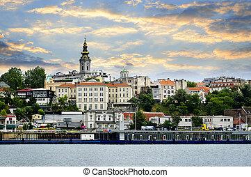 belgrad, cityscape, auf, donau