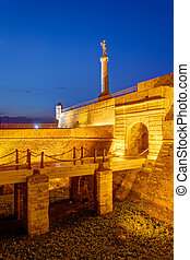 Belgrade fortress and Victor monument at night, Belgrade Serbia
