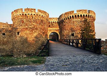 Belgrade fortress gate - architecture details of Kalemegdan...