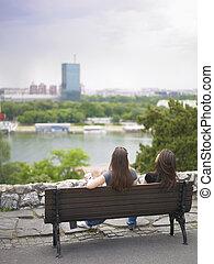 Belgrade Lifestyle friends resting on river