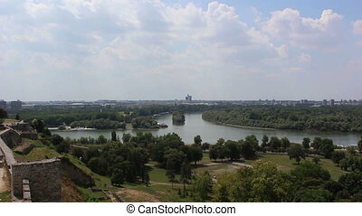 Belgrade, river confluence of the Sava and Danube