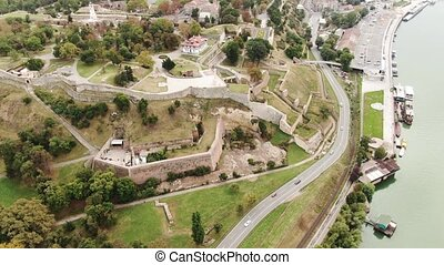 Belgrade, Serbia. Aerial View of Old Kalemegdan Fortress and Park by Sava River on Summer Day. Landmark and Popular Tourist Destination, Drone Shot 4k
