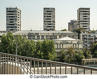 Socialist era architecture - Belgrade, Serbia. August 27, ...