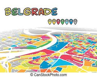 Belgrade, Serbia, Downtown 3D Vector Map