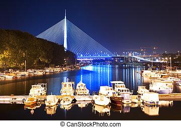 Belgrade Serbia - New cable bridge in Belgrade at night with...