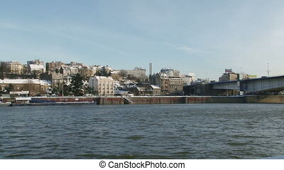 Belgrade, Serbia, river - Belgrade, river, wide shot, bridge