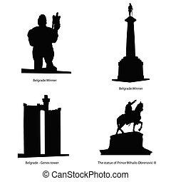 belgrado, más, estatua famosa, vector, ilustración