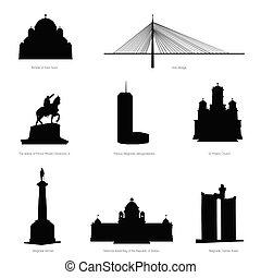 belgrado, más, famoso, edificios, y, estatua, silueta