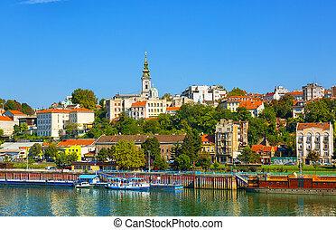 belgrado, van, rivier, sava, met, toerist, riverboats, op,...