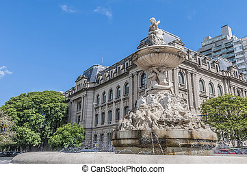 Belgrano avenue in Rosario, Argentina - Fountain at Belgrano...
