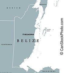 belice, político, mapa